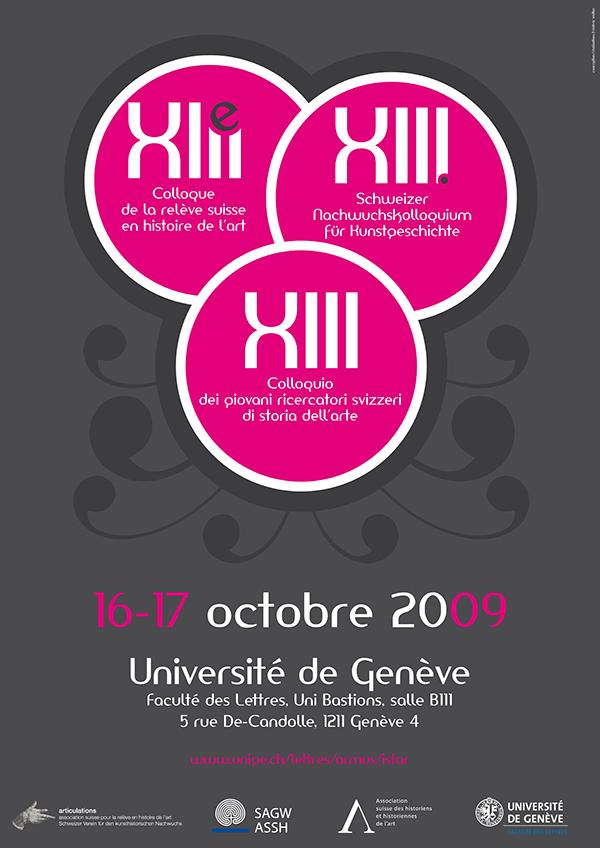 Création de l'affiche et du dépliant pour la «13ème Colloque de la relève suisse en histoire de l'art» UNIGE. / fredmuller / graphiste print et web / suisse