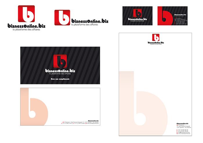 Conception et réalisation de l'identité visuelle Biznessonline / fredmuller / graphiste