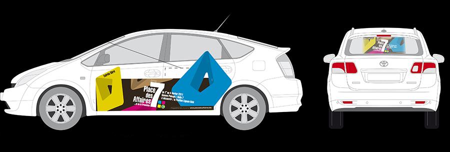 conception et réalisation de l'identité visuelle Place des affaires (PDA). Support taxi / fredmuller / graphiste / print et web