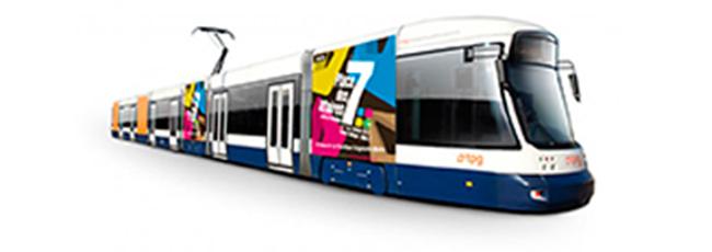 conception et réalisation de l'identité visuelle Place des affaires (PDA). Support Tram tpg / fredmuller / graphiste / print et web